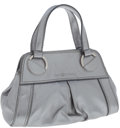 Luxury Accessories:Bags, Sergio Rossi Silver Leather Top Handle Evening Bag. ...