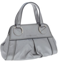 Sergio Rossi Silver Leather Top Handle Evening Bag