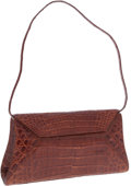 Luxury Accessories:Bags, Nancy Gonzalez Brown Crocodile Flap Clutch Bag with Shoulder Strap....
