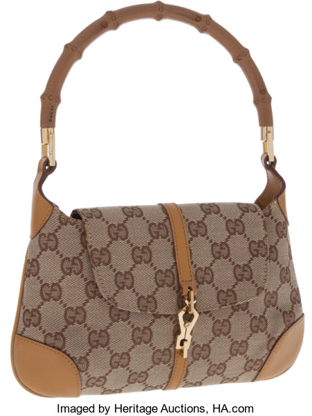 e6342fc984c Gucci Classic GG Monogram Canvas and Bamboo Top Handle Bag ...