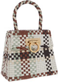 Luxury Accessories:Bags, Salvatore Ferragamo Brown, Gray and White Woven Leather Top HandleBag with Gancio Closure. ...