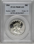 Proof Franklin Half Dollars: , 1961 50C PR68 Cameo PCGS. PCGS Population (119/5). NGC Census: (457/4). Numismedia Wsl. Price: $176. (#86702)...