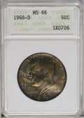 Kennedy Half Dollars: , 1968-D 50C MS66 ANACS. NGC Census: (84/6). PCGS Population(197/11). Mintage: 246,951,936. Numismedia Wsl. Price: $32. (#67...