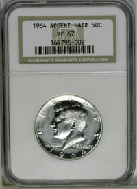 1964 50C Accented Hair PR67 NGC. NGC Census: (688/857). PCGS Population (471/293). Numismedia Wsl. Price: $50. (#6801)...