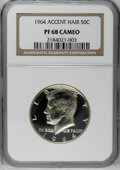 Proof Kennedy Half Dollars: , 1964 50C Accented Hair PR68 Cameo NGC. NGC Census: (141/29). PCGS Population (45/0). Numismedia Wsl. Price: $184. (#86801)...
