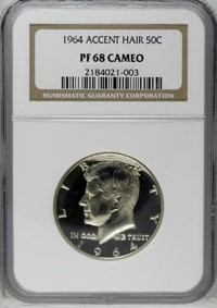 1964 50C Accented Hair PR68 Cameo NGC. NGC Census: (141/29). PCGS Population (45/0). Numismedia Wsl. Price: $184. (#8680...