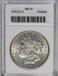 Morgan Dollars: , 1878-CC $1 MS62 ANACS. NGC Census: (1150/6933). PCGS Population (2179/11622). Mintage: 2,212,000. Numismedia Wsl. Price: $1...