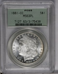 1881-CC $1 MS63 Prooflike PCGS. PCGS Population (275/460). NGC Census: (108/221). Numismedia Wsl. Price: $460. (#7127)...