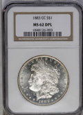 1883-CC $1 MS62 Deep Mirror Prooflike NGC. NGC Census: (63/986). PCGS Population (232/2616). Numismedia Wsl. Price: $196...