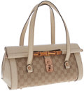 Luxury Accessories:Bags, Gucci Cream Leather and GG Monogram Canvas Top Handle Bag withBamboo Closure. ...