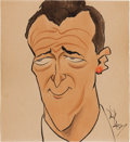 Movie/TV Memorabilia:Original Art, A John Wayne Caricature by Don Barclay from The Masquers Club,Circa 1950s....