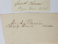 Autographs:Military Figures, [Civil War]. Group of Two Union General Signatures...