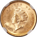 Gold Dollars, 1854 G$1 Type Two MS64+ NGC. CAC....