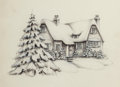 Mainstream Illustration, AMERICAN ARTIST (20th Century). Snow Covered House, The NorcrossGreeting Card Collection. Charcoal pencil and watercolo...