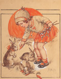 Mainstream Illustration, FLORENCE PEARL ENGLAND NOSWORTHY (American, 1872-1936). LittleGirl Feeding the Bunnies, probable magazine cover. Waterc...