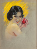 Pin-up and Glamour Art, CHARLES GATES SHELDON (American, 1889-1960). Olive Borden,Photoplay magazine cover, August 1927. Pastel on board. 23.5...