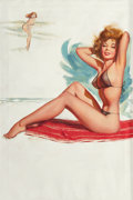 """Paintings, JERRY T.N. THOMPSON (American, 20th Century). """"A Swim Suit Designed for Plenty of See"""", Brown & Bigelow calendar illustrat... (Total: 2 Items)"""
