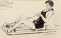 Mainstream Illustration, JAMES MONTGOMERY FLAGG (American, 1877-1960). Woman on theRowing Machine, 1936. Ink on board. 13 x 20 in. (image).Sign...