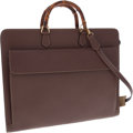 Luxury Accessories:Bags, Gucci Brown Leather Briefcase with Bamboo Handles and ShoulderStrap. ...