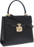 Luxury Accessories:Bags, Gucci Black Calf Leather Top Handle Bag with Shoulder Strap. ...