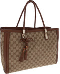 Luxury Accessories:Bags, Gucci Classic Monogram GG Canvas and Brown Leather Bella Tote Bag....