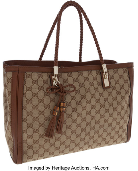 c790a533664 Gucci Classic Monogram GG Canvas and Brown Leather Bella Tote