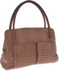 Luxury Accessories:Bags, Nancy Gonzalez Beige Crocodile Front Pocket Shoulder Bag. ...