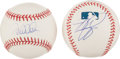 Baseball Collectibles:Balls, Mike Piazza and Derek Jeter Single Signed Baseballs Lot of 2....
