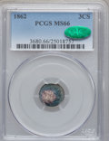 Three Cent Silver, 1862 3CS MS66 PCGS. CAC....