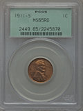 Lincoln Cents, 1911-S 1C MS65 Red PCGS....
