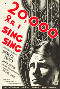 "Movie Posters:Crime, 20,000 Years in Sing Sing (First National, 1932). Swedish One Sheet(27.5"" X 35.5"").. ..."