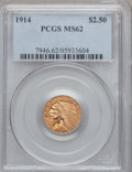 Indian Quarter Eagles, 1914 $2 1/2 MS62 PCGS....