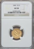 Liberty Quarter Eagles, 1843 $2 1/2 AU58 NGC....