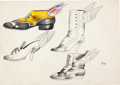 animation art:Model Sheet, Beatles Yellow Submarine Flying Shoe Model Sheet by HeinzEdelmann (United Artist/King Features, 1968)....