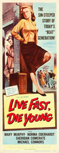"""Movie Posters:Bad Girl, Live Fast, Die Young (Universal International, 1958). Insert (14"""" X36"""").. ..."""