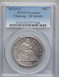 Seated Half Dollars, 1872-CC 50C -- Cleaning -- PCGS Genuine. XF Details....