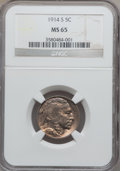 Buffalo Nickels, 1914-S 5C MS65 NGC....