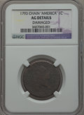 Large Cents, 1793 Chain 1C AMERICA -- Damaged -- NGC Details. AG. S-3, B-4, LowR.3....