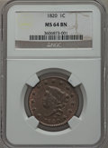 Large Cents, 1820 1C Small Date MS64 Brown NGC. N-15, R.1....