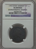 Large Cents, 1793 Chain 1C Periods -- Environmental Damage -- NGC Details. AG.S-4, B-5, R.3....