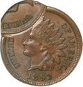 Errors, 1893 Indian Cent -- Multiple Strikes in Collar, Another Off-Center-- MS63 Brown NGC....