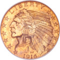 Indian Half Eagles, 1916-S $5 MS64 NGC....