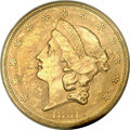 Liberty Double Eagles, 1861 $20 MS62+ PCGS....