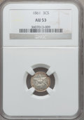 Three Cent Silver: , 1861 3CS AU53 NGC. NGC Census: (12/706). PCGS Population (19/778).Mintage: 497,000. Numismedia Wsl. Price for problem free...