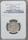 Seated Quarters: , 1853 25C Arrows and Rays -- Improperly Cleaned -- NGC Details. XF.NGC Census: (70/845). PCGS Population (129/839). Mintage...