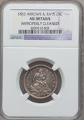 Seated Quarters: , 1853 25C Arrows and Rays -- Improperly Cleaned -- NGC Details. AU.NGC Census: (53/679). PCGS Population (89/598). Mintage:...
