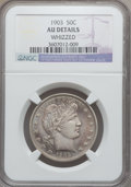 Barber Half Dollars: , 1903 50C -- Whizzed -- NGC Details. AU. NGC Census: (1/71). PCGSPopulation (13/106). Mintage: 2,278,755. Numismedia Wsl. P...