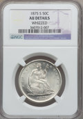 Seated Half Dollars: , 1875-S 50C -- Whizzed -- NGC Details. AU. NGC Census: (4/239). PCGSPopulation (10/294). Mintage: 3,200,000. Numismedia Wsl...