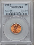 Lincoln Cents: , 1982-D 1C MS67 Red PCGS. PCGS Population (200/11). Numismedia Wsl.Price for problem free NGC/PCGS coin...
