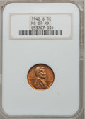 Lincoln Cents: , 1942-S 1C MS67 Red NGC. NGC Census: (670/0). PCGS Population(316/2). Mintage: 85,590,000. Numismedia Wsl. Price for proble...